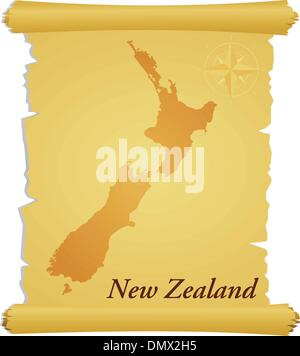 Vector parchment with a silhouette of New Zealand - Stock Photo
