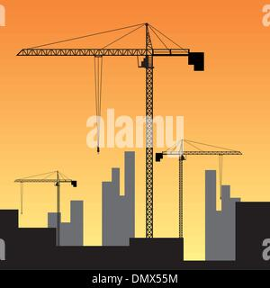 Construction site on sunset. - Stock Photo