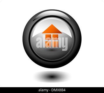 Home metallic round icon - Stock Photo