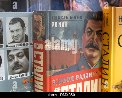 A Stalin biography on sale in Arbat in Moscow Russian Federation - Stock Photo