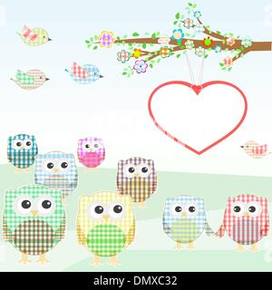 owls and birds on tree branches. nature element - Stock Photo