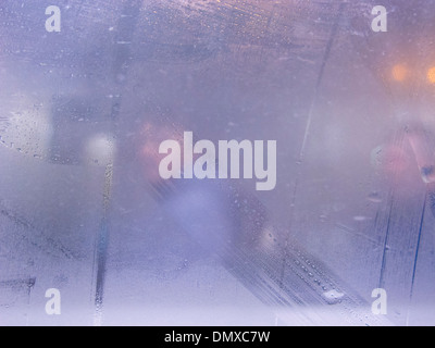 Condensation on a bus in Moscow - Stock Photo