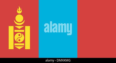 Vector illustration of the flag of Mongolia - Stock Photo