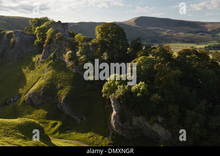 Peveril Castle from Cave Dale, Castleton, Peak District National Park, Derbyshire - Stock Photo