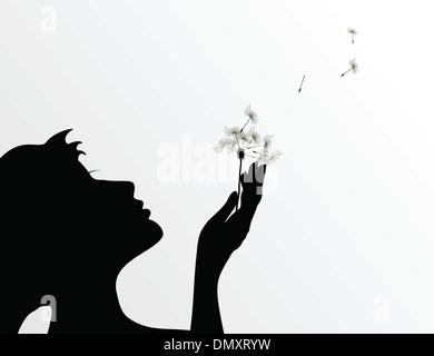 Girl and a dandelion - Stock Photo