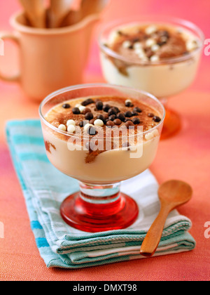 Tiramisu cups. Recipe available. - Stock Photo