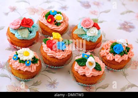 Cupcakes garden. Recipe available. - Stock Photo