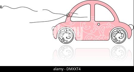 Smiling girl behind wheel pink car for your design - Stock Photo