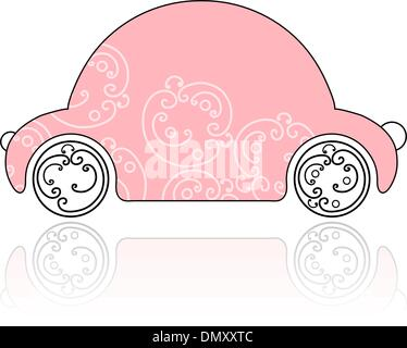 Pink female car with floral ornament for your design - Stock Photo