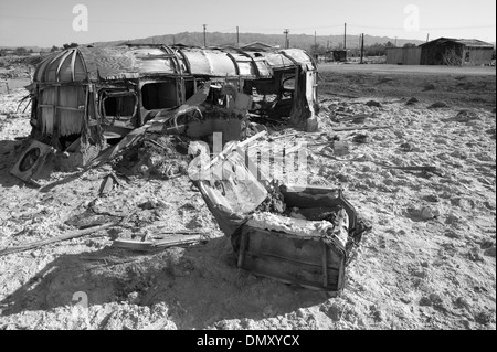 Abandoned Flooded Mobile Home Near The Salton Sea In California USA