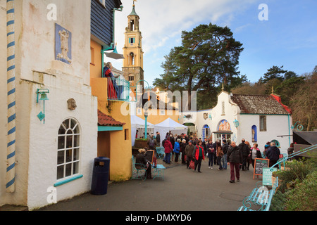 Visitors to Christmas Food and Craft Fair in Italian style tourists' village of Portmeirion, Gwynedd, North Wales, - Stock Photo