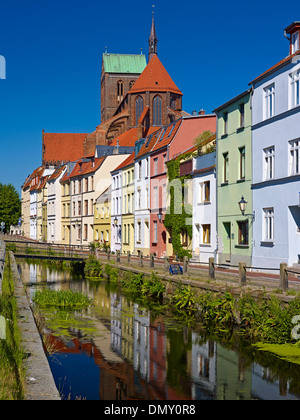 Muehlengrube River with St. Nicholas Church in Wismar, Mecklenburg-Vorpommern, Germany - Stock Photo