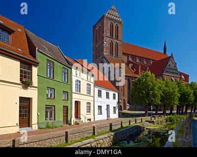 Frische Grube River with St. Nicholas Church in Wismar, Mecklenburg-Vorpommern, Germany - Stock Photo