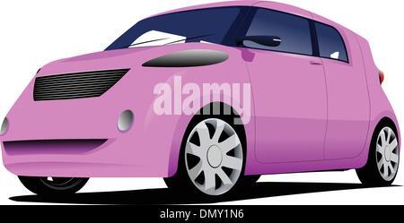 Pink  car sedan on the road. Vector illustration - Stock Photo