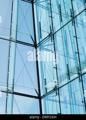 Oslo Norway detail of windows in the foyer of the Opera House designed by the architects Snøhetta - Stock Photo