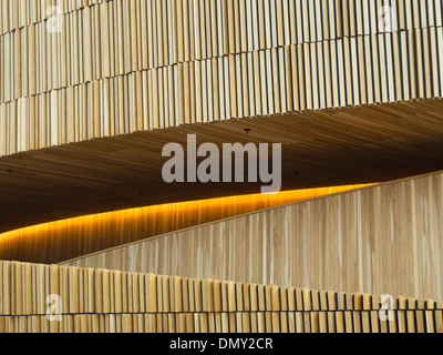 Oslo Norway partial view the foyer wall in the Opera House designed by the architects Snøhetta - Stock Photo