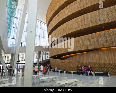 Oslo Norway partial view of the foyer in the Opera House designed by the architects Snøhetta, ongoing  sightseeing - Stock Photo