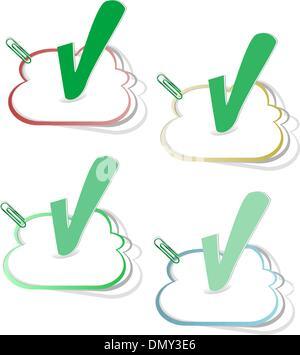 check mark button vector stickers set - Stock Photo