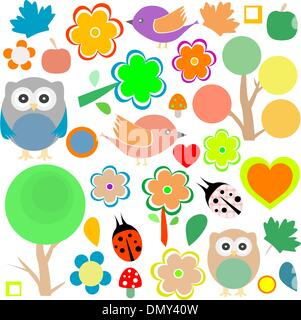 set birds and owls, trees and flowers vector background
