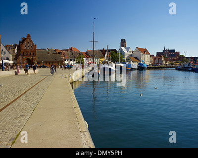 Harbour with St George Church, Wismar, Mecklenburg-Vorpommern, Germany - Stock Photo
