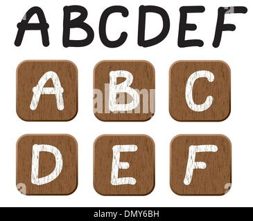 Hand drawn  wooden set of letters 1. - Stock Photo
