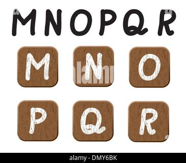 Hand drawn  wooden set of letters 3. - Stock Photo