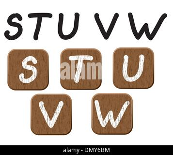 Hand drawn  wooden set of letters 4. - Stock Photo