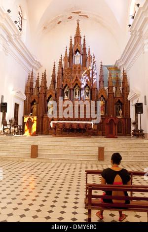 Interior of the Church of the Holy Trinity ( Iglesia Parroquial de la Santísima ); Trinidad, Cuba, Caribbean - Stock Photo