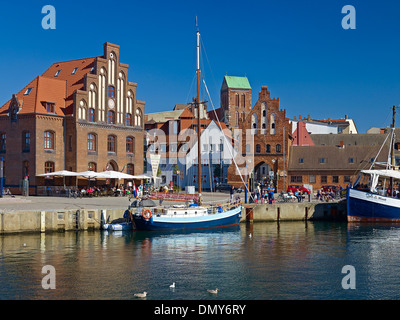 Old Harbour with Wassertor and Church of St. Nicholas, Wismar, Mecklenburg-Vorpommern, Germany - Stock Photo