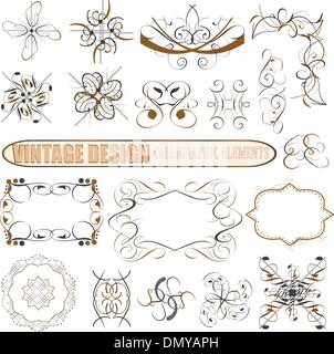 Vector decorative design elements: page decor, frames, banners - Stock Photo