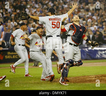 Oct 19, 2006; New York, NY, USA; Cardinals celebrates after Game 7 of the NLCS against the New York Mets at Shea - Stock Photo