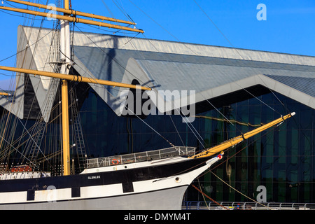 Glenlee 3 mast steel hulled cargo sailing ship, Clyde built in 1896, now berthed at the Riverside Museum, Glasgow, - Stock Photo