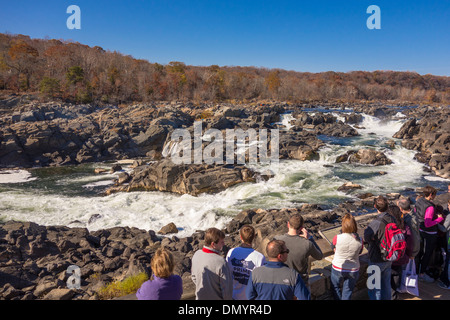 GREAT FALLS, MARYLAND, USA - People at Great Falls Overlook on Potomac River in the C&O Canal National Historic - Stock Photo