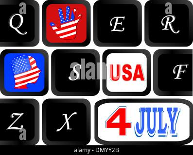 Computer keyboard with the US flag on it, United States - Stock Photo
