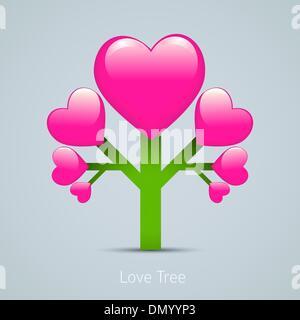 Love creative conceptual design illustration. Tree icon with hea - Stock Photo