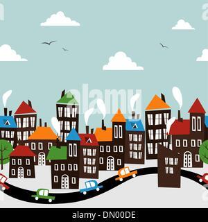 Christmas town seamless cartoon pattern - Stock Photo