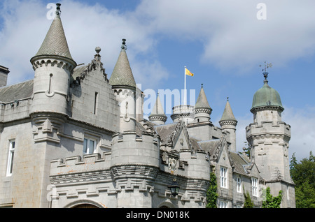 balmoral castle in royal deeside summer home of queen with turrets - Stock Photo