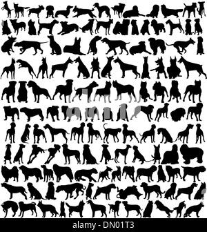 dog silhouettes collection - Stock Photo