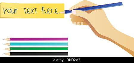 Hand writing on note with set of colored pencils. - Stock Photo