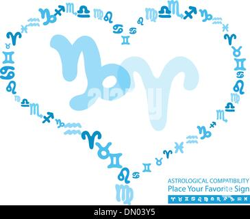 Vector illustration on astrological compatibility - Stock Photo