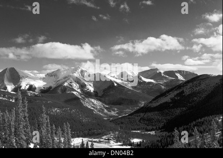 Black and white winter view of the Sawatch Range from the top of Monarch Mountain, Colorado, USA - Stock Photo