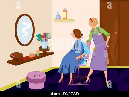 Hairdresser woman in professional uniform set beautiful for Uniform spa vector