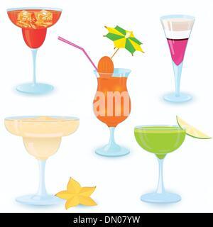 Cocktail-icon-set - Stock Photo
