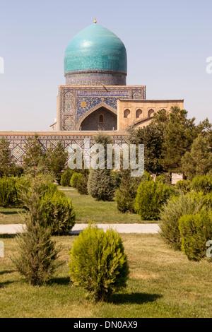 Tilla Kari Madrasah, also known as Tillya Kari Madrasah, Registan Square, Samarkand, Uzbekistan - Stock Photo