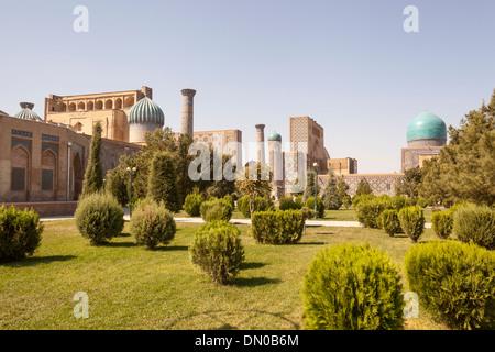 Sher Dor (Shir Dor), Ulugh Beg (Ulugbek), and Tilla Kari (Tillya Kari) Madrasahs, Registan Square, Samarkand, Uzbekistan - Stock Photo