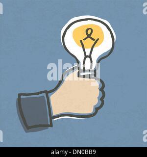 Businessman with Idea Bulb. Hand-drawn vector illustration, EPS1 - Stock Photo
