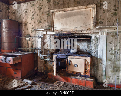Kitchen in Abandoned Croft House, Isle of Lewis - Stock Photo