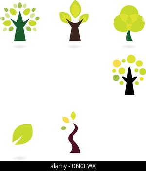 Abstract trees vector set isolated on white - Stock Photo