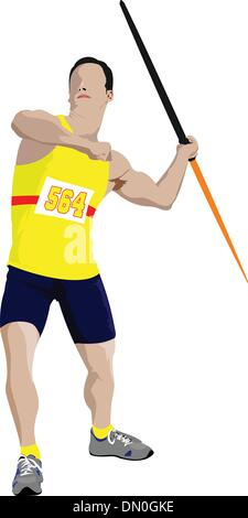 Track and field. Male Javelin thrower on white background. Vecto - Stock Photo