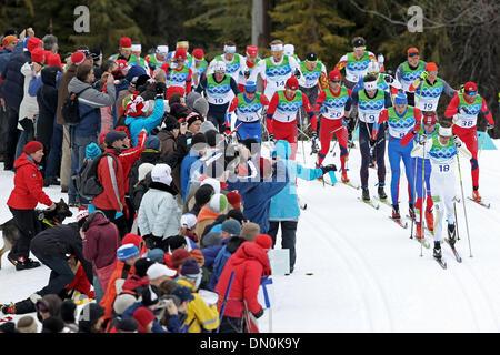 Feb. 28, 2010 - Whistler, British Columbia, Canada - Skiers compete in Men's Cross Country Skiing 50km Mass Start - Stock Photo